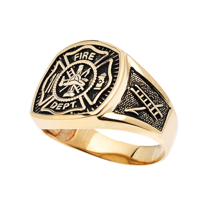 Bold Yellow Gold Fire Department Maltese Cross Ring