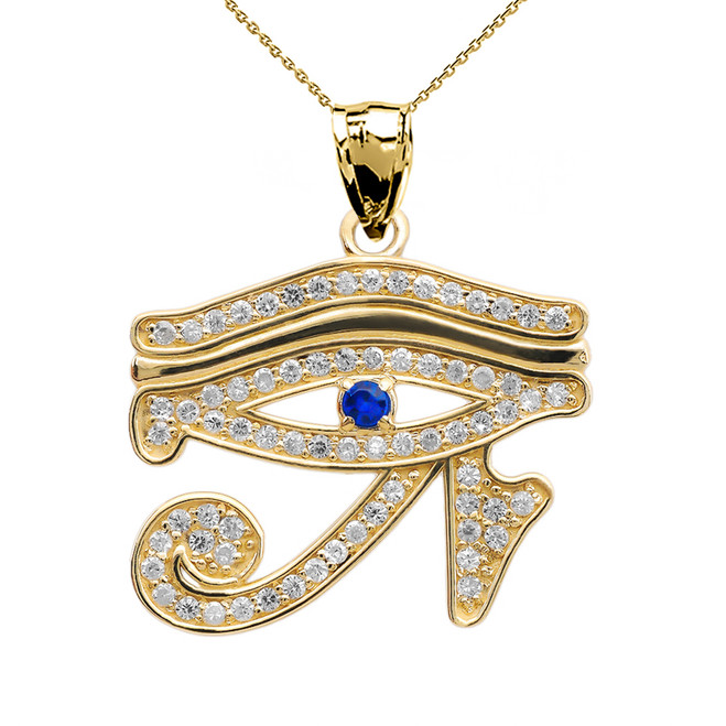Eye of Horus Yellow Gold Diamond and Sapphire Pendant Necklace