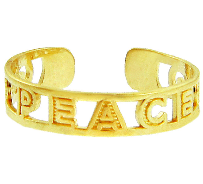 "Yellow Gold ""PEACE"" Toe Ring"