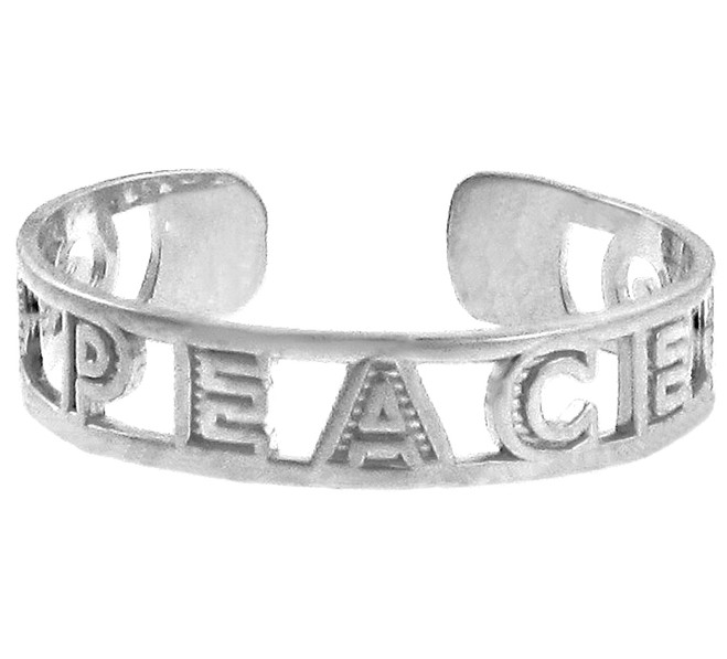 "White Gold ""PEACE"" Toe Ring"