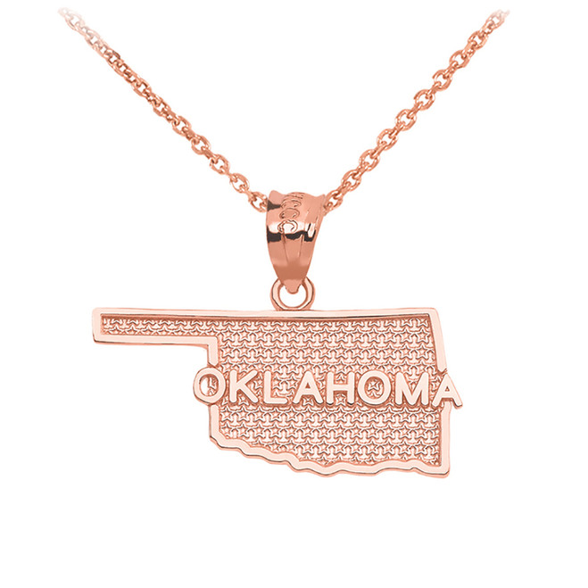 Rose Gold Oklahoma State Map Pendant Necklace