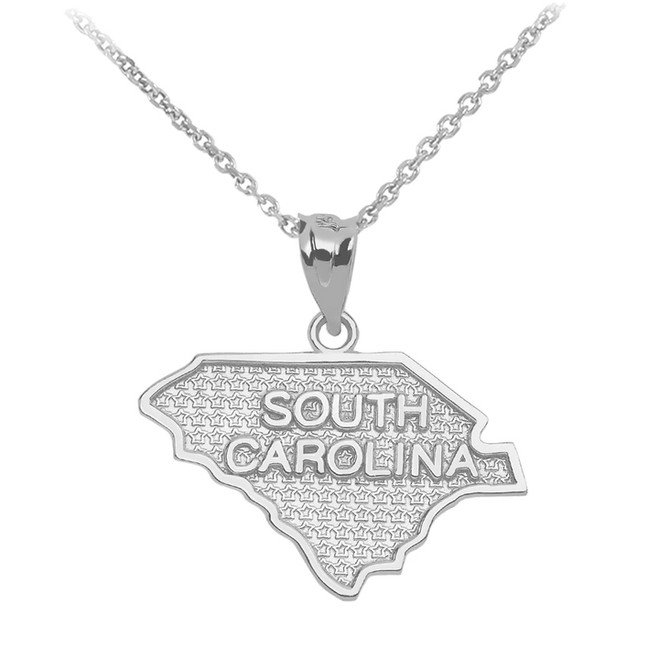Sterling Silver South Carolina State Map Pendant Necklace