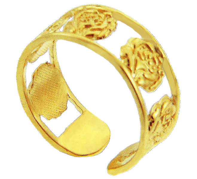 Yellow Gold Roses Toe Ring
