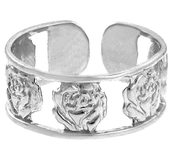 White Gold Roses Toe Ring
