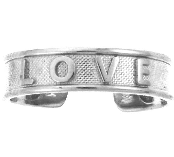 """White Gold """"LOVE"""" Toe Ring"""