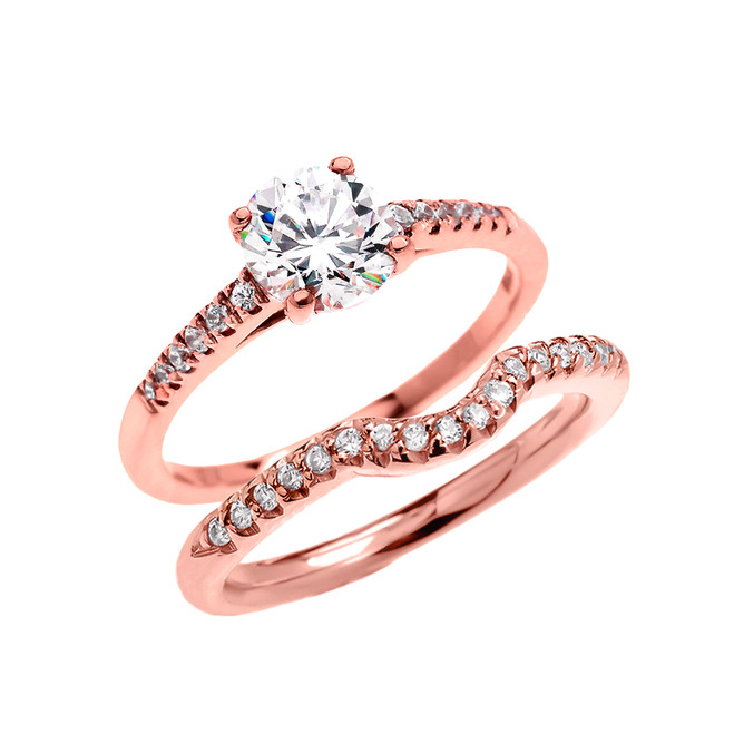 Rose Gold Dainty Diamond Wedding Ring Set With 1 Carat White Topaz Center Stone