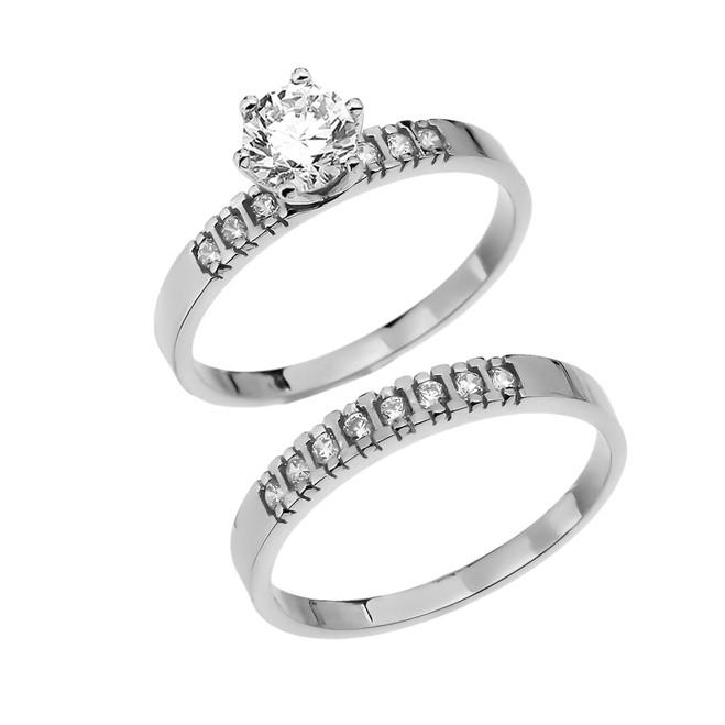 Diamond White Gold Engagement And Wedding Ring Set With 1 Carat White Topaz Center stone