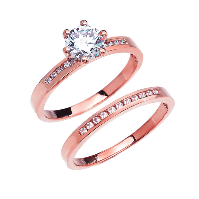 Diamond Channel-Set Rose Gold Engagement And Wedding Ring Set With 1 Carat White Topaz Center stone