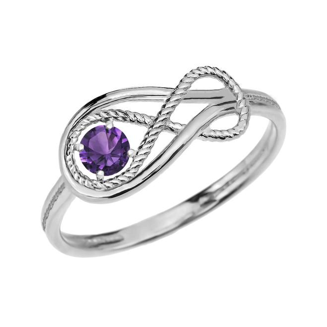 Alexandrite Rope Infinity White Gold Ring