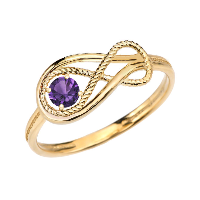 Alexandrite Rope Infinity Yellow Gold Ring