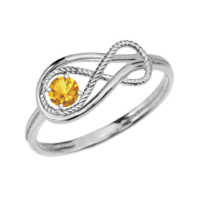 Citrine Rope Infinity White Gold Ring