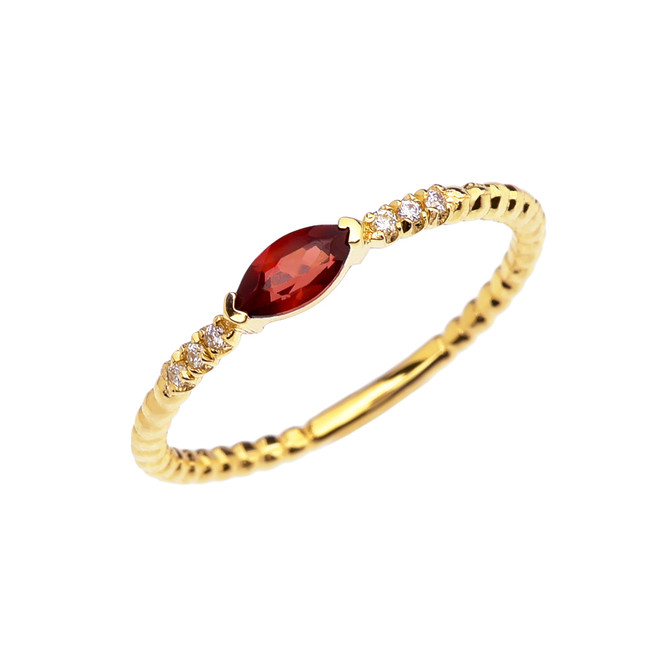 Diamond and Garnet Marquise Solitaire Beaded Band Proposal/Stackable Yellow Gold Ring