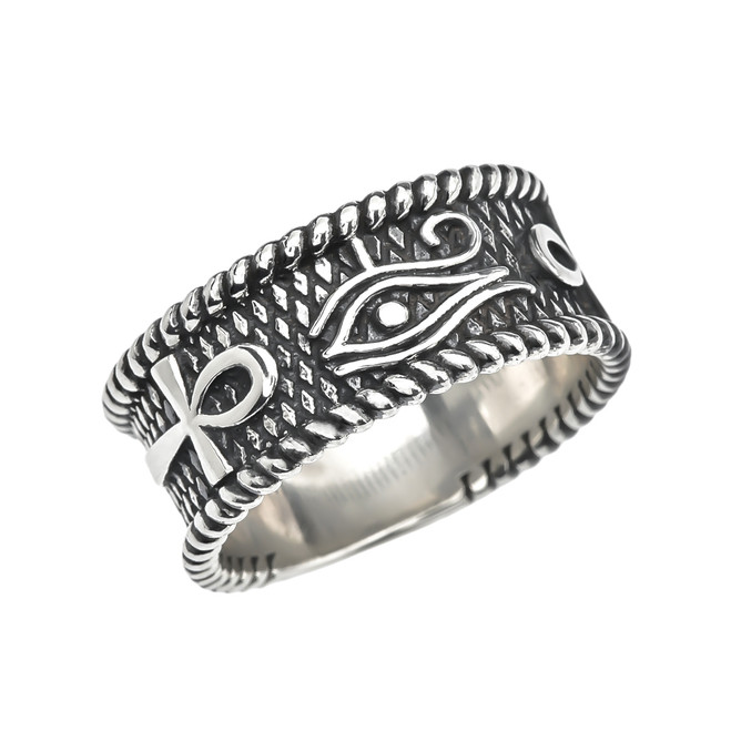 Eye of Horus with Egyptian Ankh Crosses Sterling Silver Unisex Ring