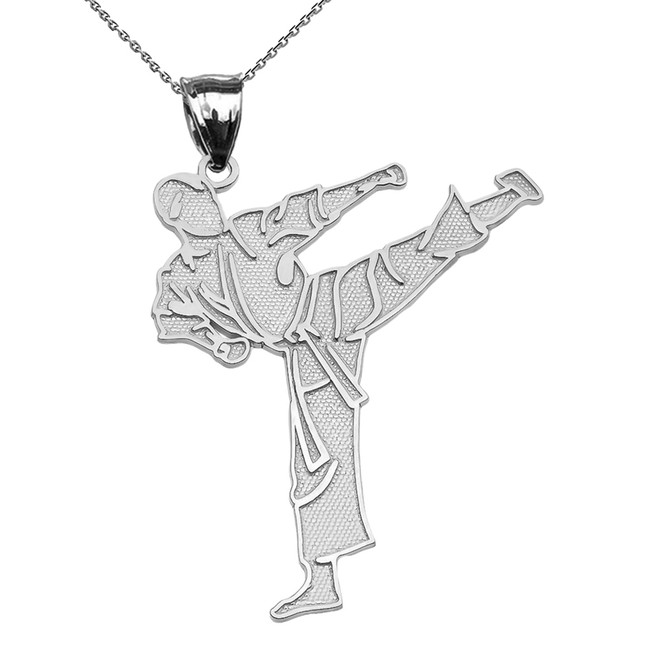 Karate Martial Arts Sterling Silver Pendant Necklace