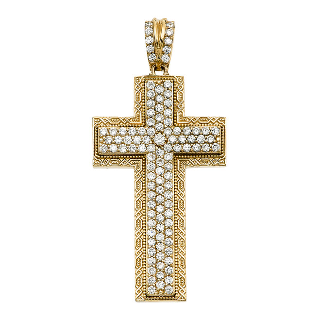 Yellow Gold 3 Carat Diamond Cross Pendant