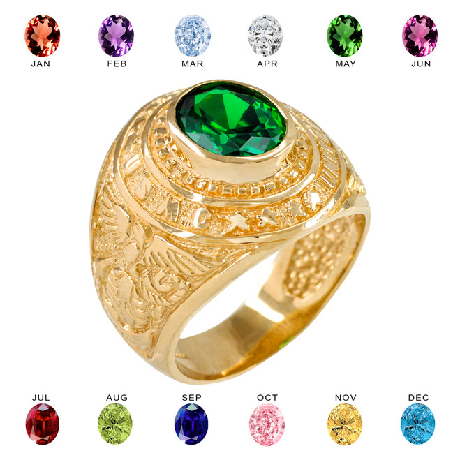 Solid Gold US Marine Corps Men's CZ Birthstone Ring