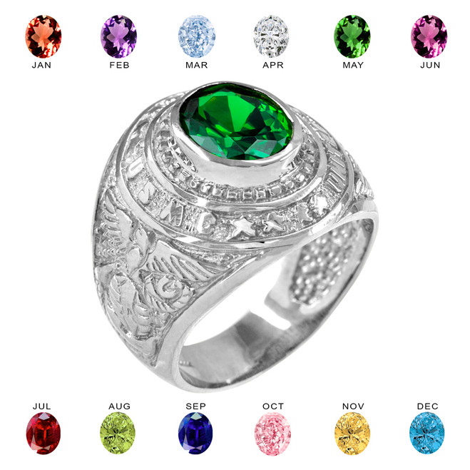 Sterling Silver US Marine Corps Men's CZ Birthstone Ring
