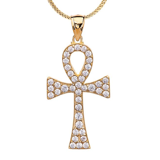 Diamond Ankh Cross Yellow Gold Pendant Necklace
