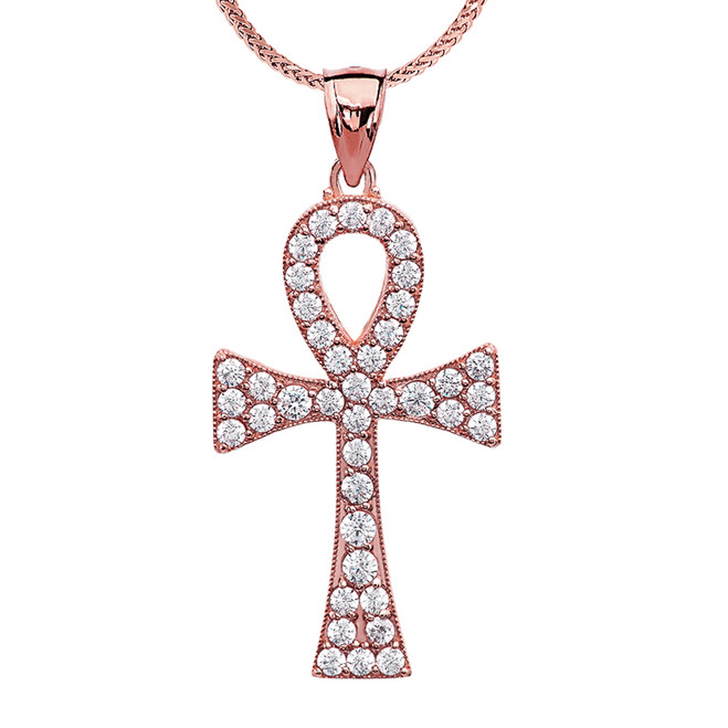1.5 Carat Cubic Zirconia Rose Gold Ankh Cross Pendant Necklace