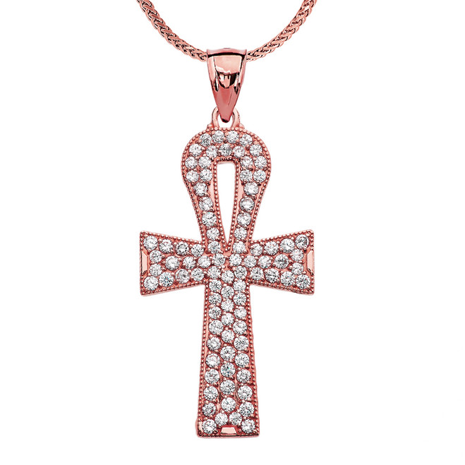1 Carat Cubic Zirconia Rose Gold Ankh Cross Pendant Necklace