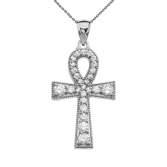 Sterling Silver Ankh Cross Cubic Zirconia Pendant Necklace