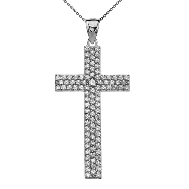 3 Carat Cubic Zirconia Sterling Silver Cross Pendant Necklace