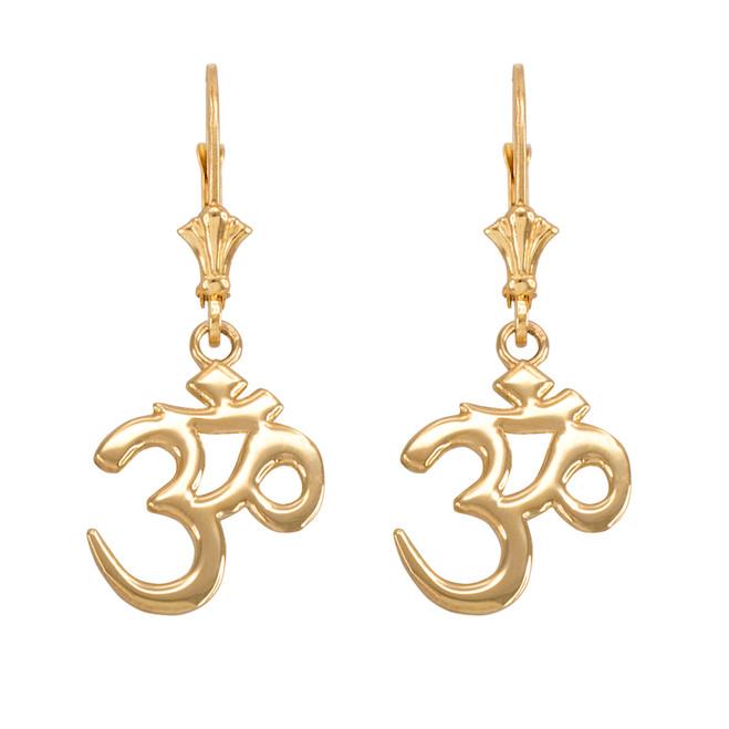 14K Gold Om (Aum) Leverback Earrings