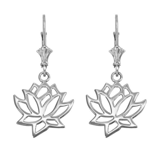 14K White Gold Lotus Flower Leverback Earrings