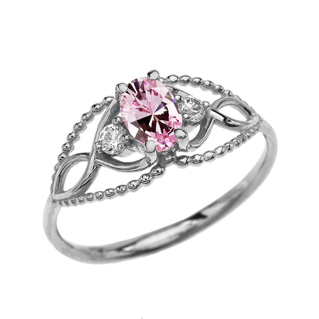 Elegant Beaded Solitaire Ring With October Birthstone Pink CZ Centerstone and White Topaz in White Gold
