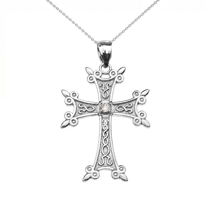 10k or 14k White Gold Elegant Armenian Cross CZ Pendant