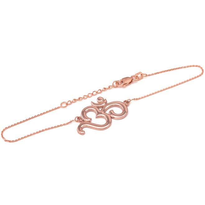 14K Polished Rose Gold Om Bracelet