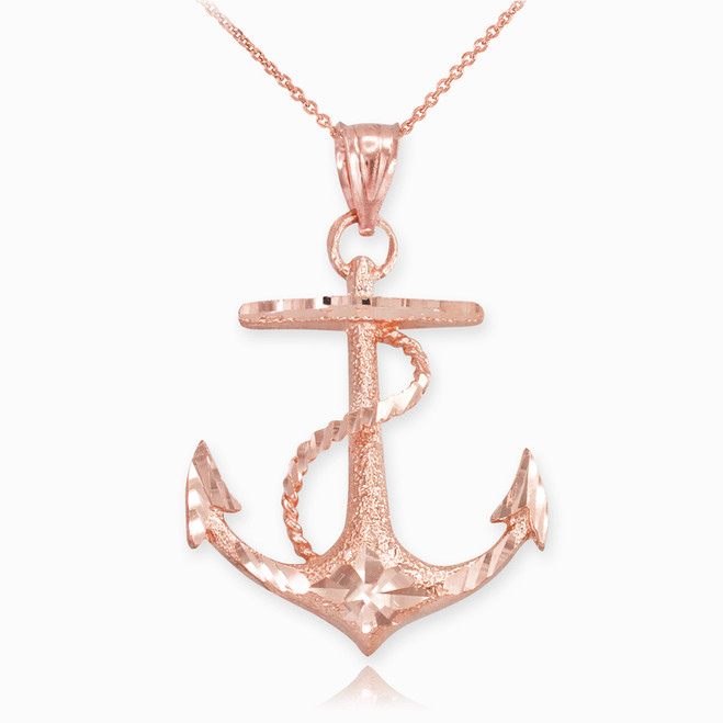 Textured Rose Gold Mariner Anchor Pendant Necklace
