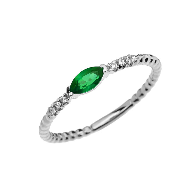 Diamond and Lab Created Emerald Marquise Solitaire Beaded Band Proposal/Stackable White Gold Ring