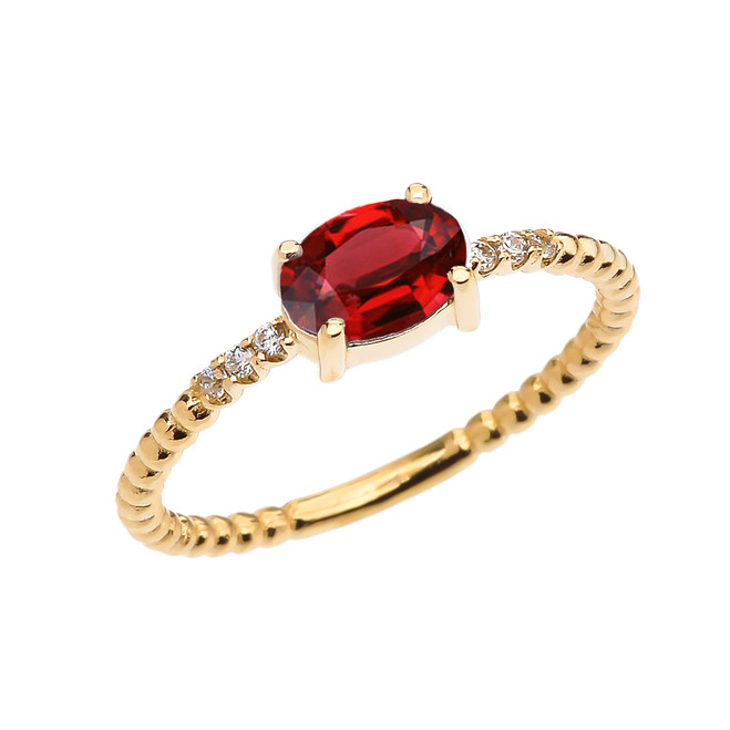 Diamond Beaded Band Ring With Garnet Centerstone in Yellow Gold