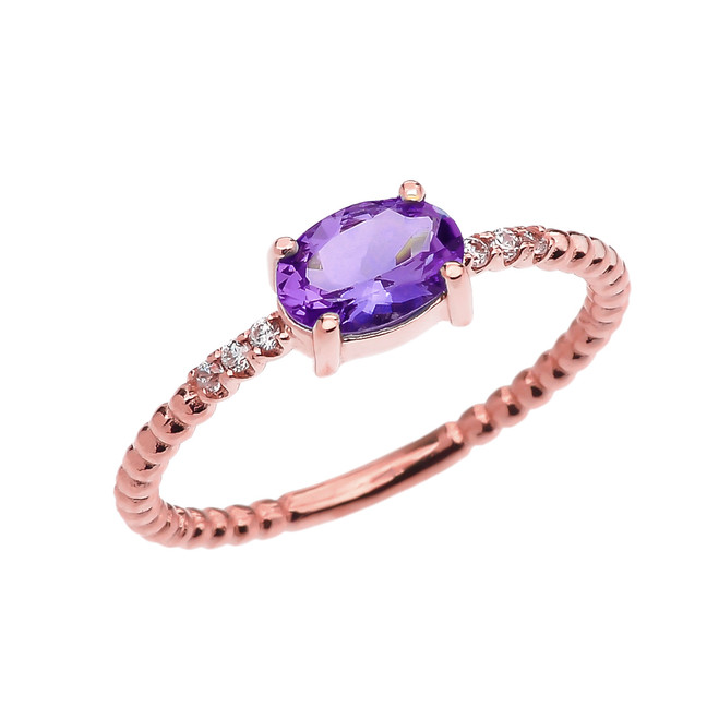 Diamond Beaded Band Ring With Amethyst Centerstone in Rose Gold