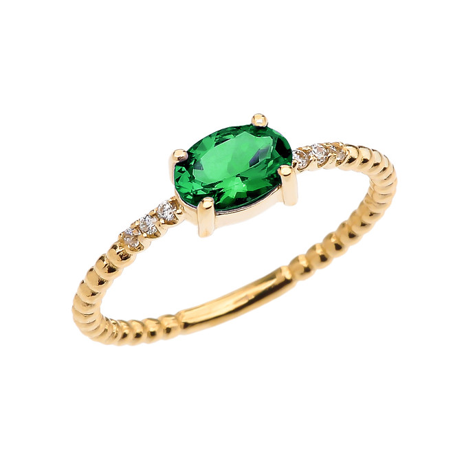 Diamond Beaded Band Ring With Genuine Emerald Centerstone in Yellow Gold
