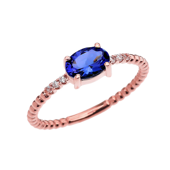 Diamond Beaded Band Ring With September Birthstone (LCS) Sapphire Centerstone in Rose Gold