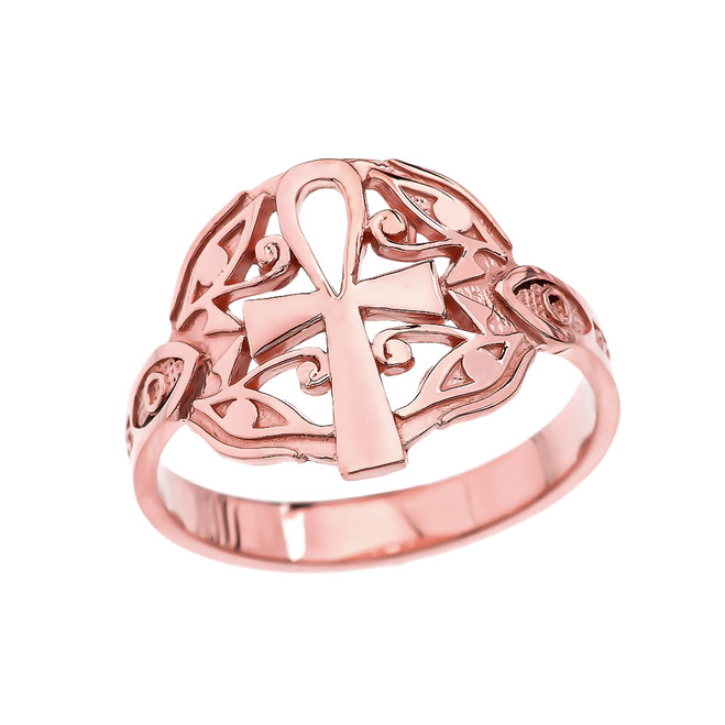 Egyptian Ankh Cross with Eye of Horus Rose Gold Ring
