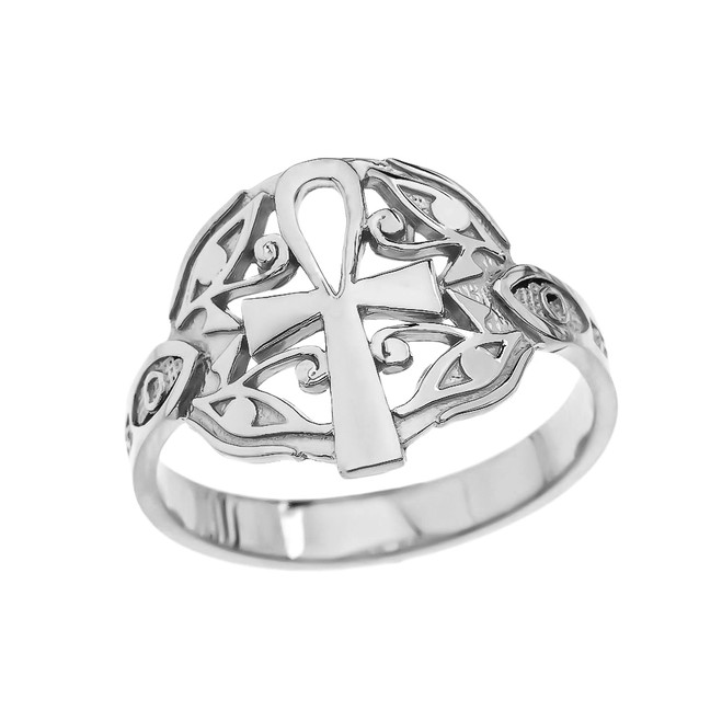 Egyptian Ankh Cross with Eye of Horus White Gold Ring