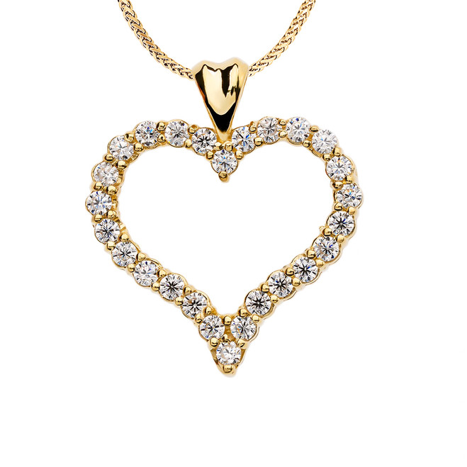 1.5 Carat Cubic Zirconia Yellow Gold Heart Pendant Necklace