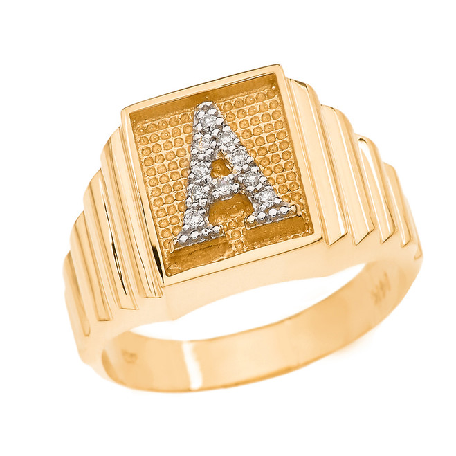 Yellow Gold Diamond Initial A Ring