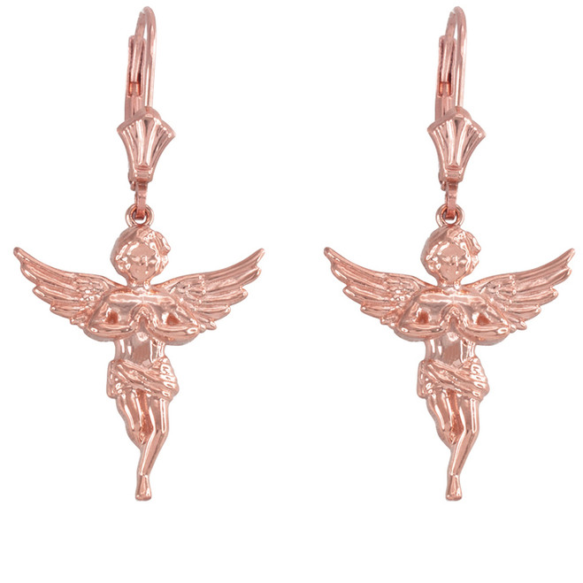 14k Rose Gold Textured Praying Angels Earrings