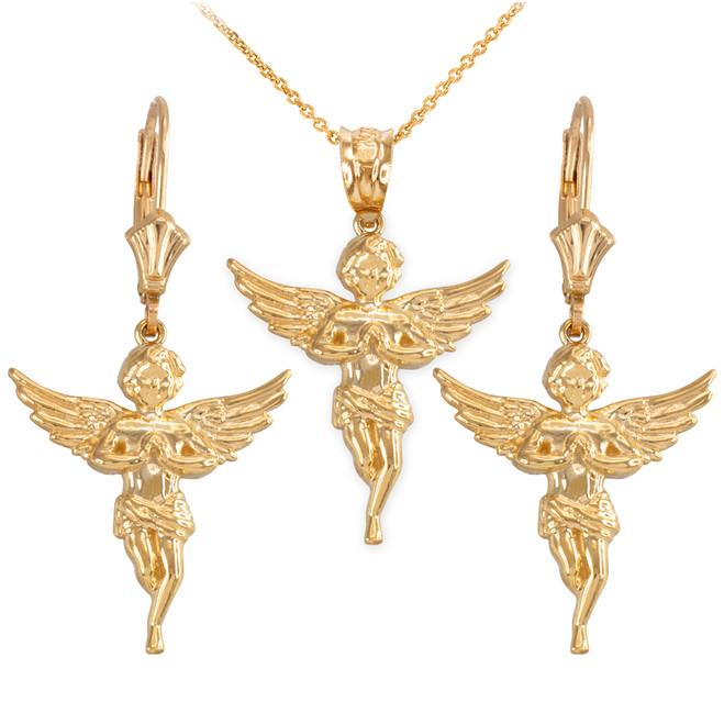 14k Yellow Gold Textured Praying Angel Necklace Earring Set