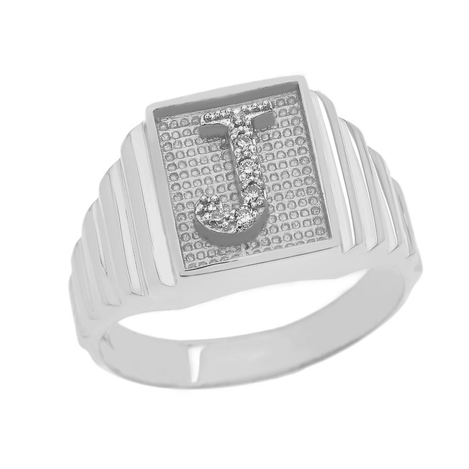 Sterling Silver Diamond Initial J  Ring