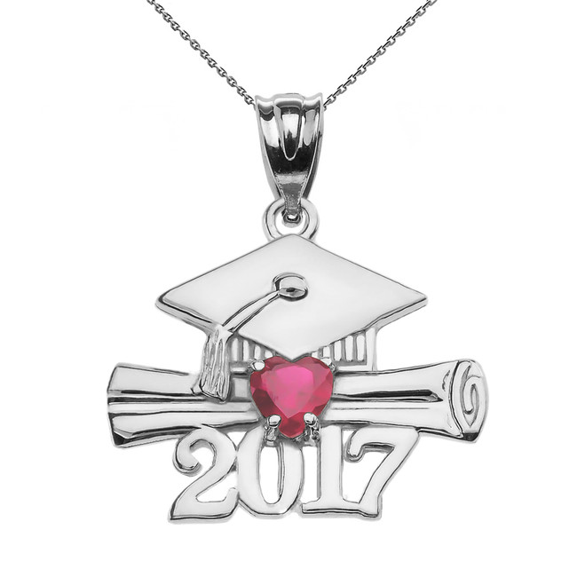 Sterling Silver Heart July Birthstone Red CZ Class of 2017 Graduation Pendant Necklace