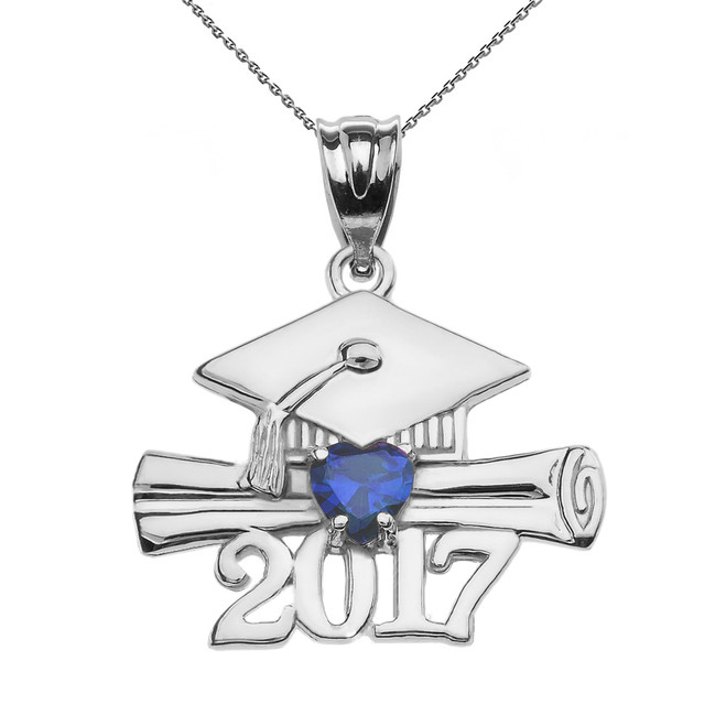 Sterling Silver Heart September Birthstone Blue CZ Class of 2017 Graduation Pendant Necklace