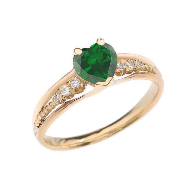 Diamond And May Birthstone (LCE) Emerald Heart Yellow Gold Beaded Proposal Ring