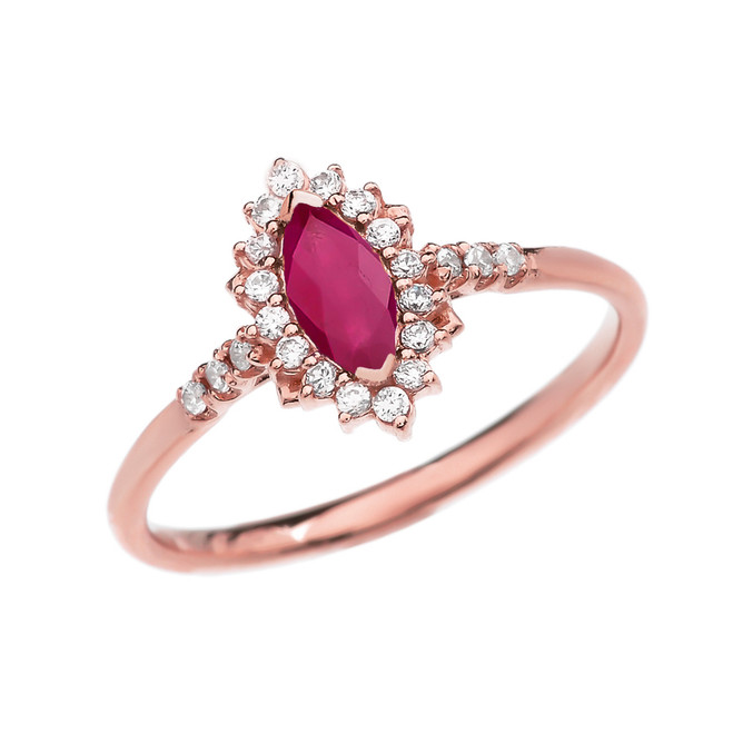 Diamond and Marquise Ruby Rose Gold Proposal Engagement Ring