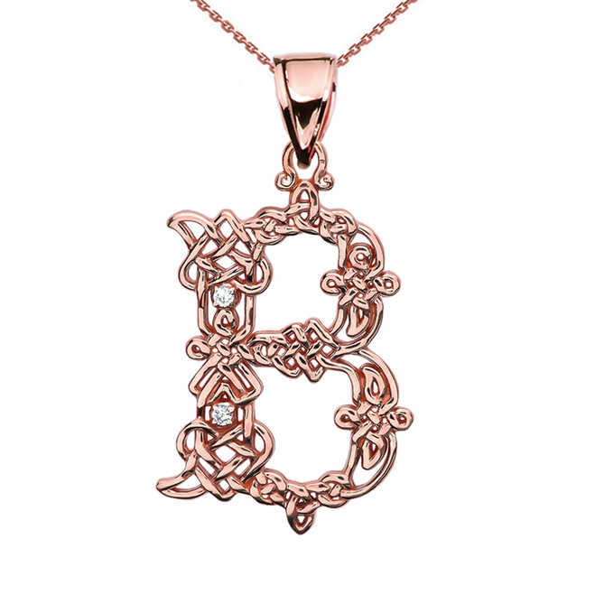 """B"" Initial In Celtic Knot Pattern Rose Gold Pendant Necklace With Diamond"