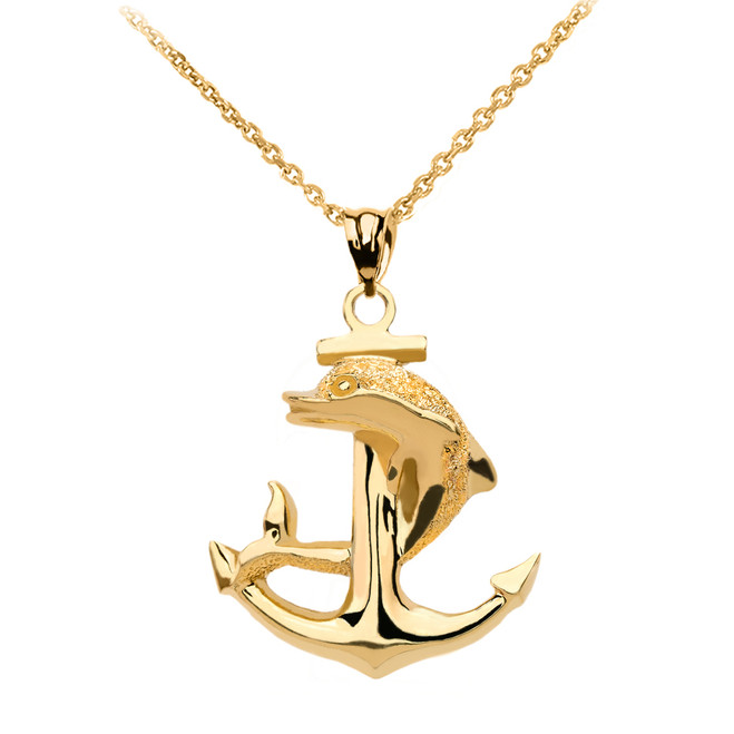 High Polished Yellow Gold Textured Dolphin Anchor Pendant Necklace